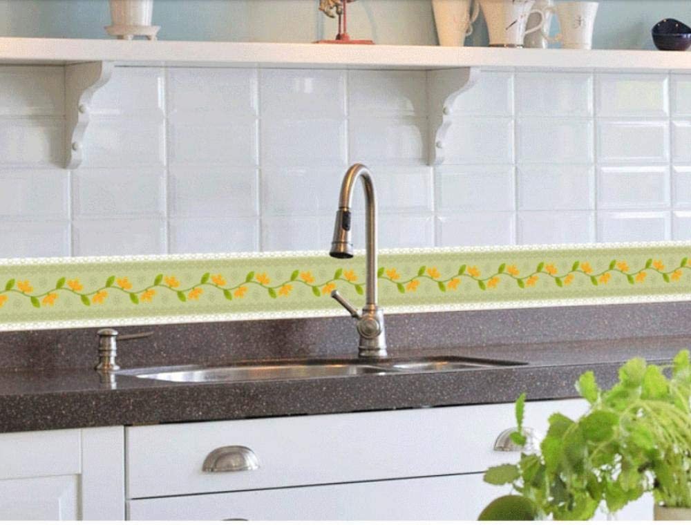 Borde del papel pintado flor Auto Adhesivo del Papel Pintado del PVC Cenefa autoadhesiva para decoraci/ón de pared de cocina ba/ño