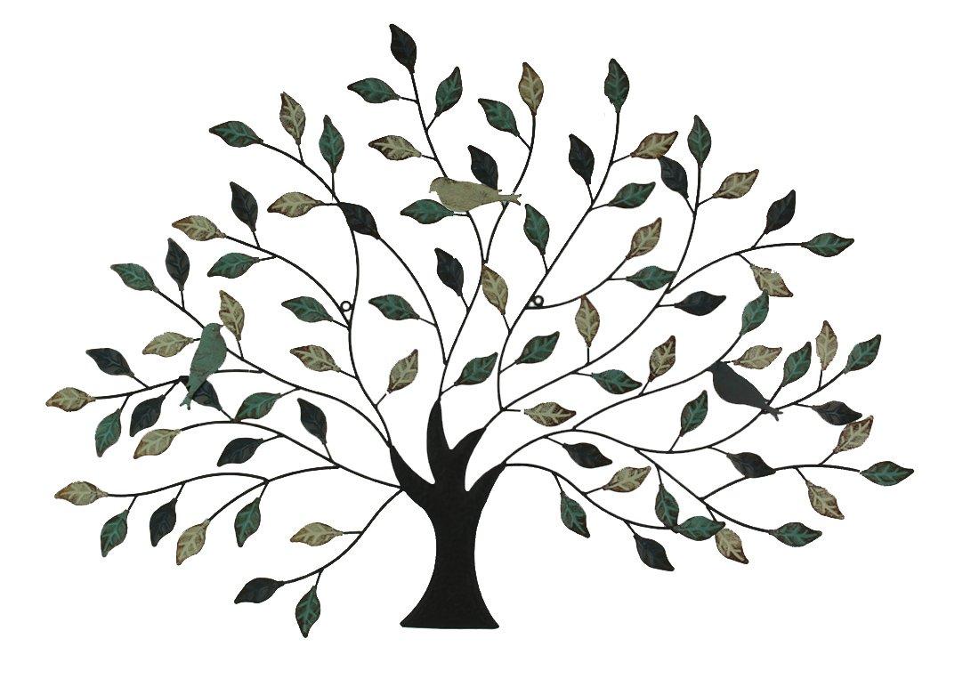 メタルの鳥壁アートツリーブルー、ブラウン&クリーム色 B079XXHYKL
