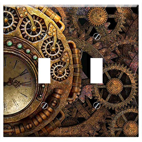 Switch Plate Double Toggle - Steam Punk Steampunk Background Gears Time Machine