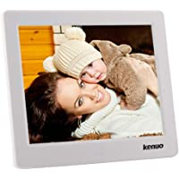 Kenuo 8 Inch Digital Photo Frame Digital Picture Frame1024x768(4:3) HD LED Screen With Alarm Clock Electric Digital Frame MP3/Photo/Video Player With Remote Control For Birthday Gift(White)