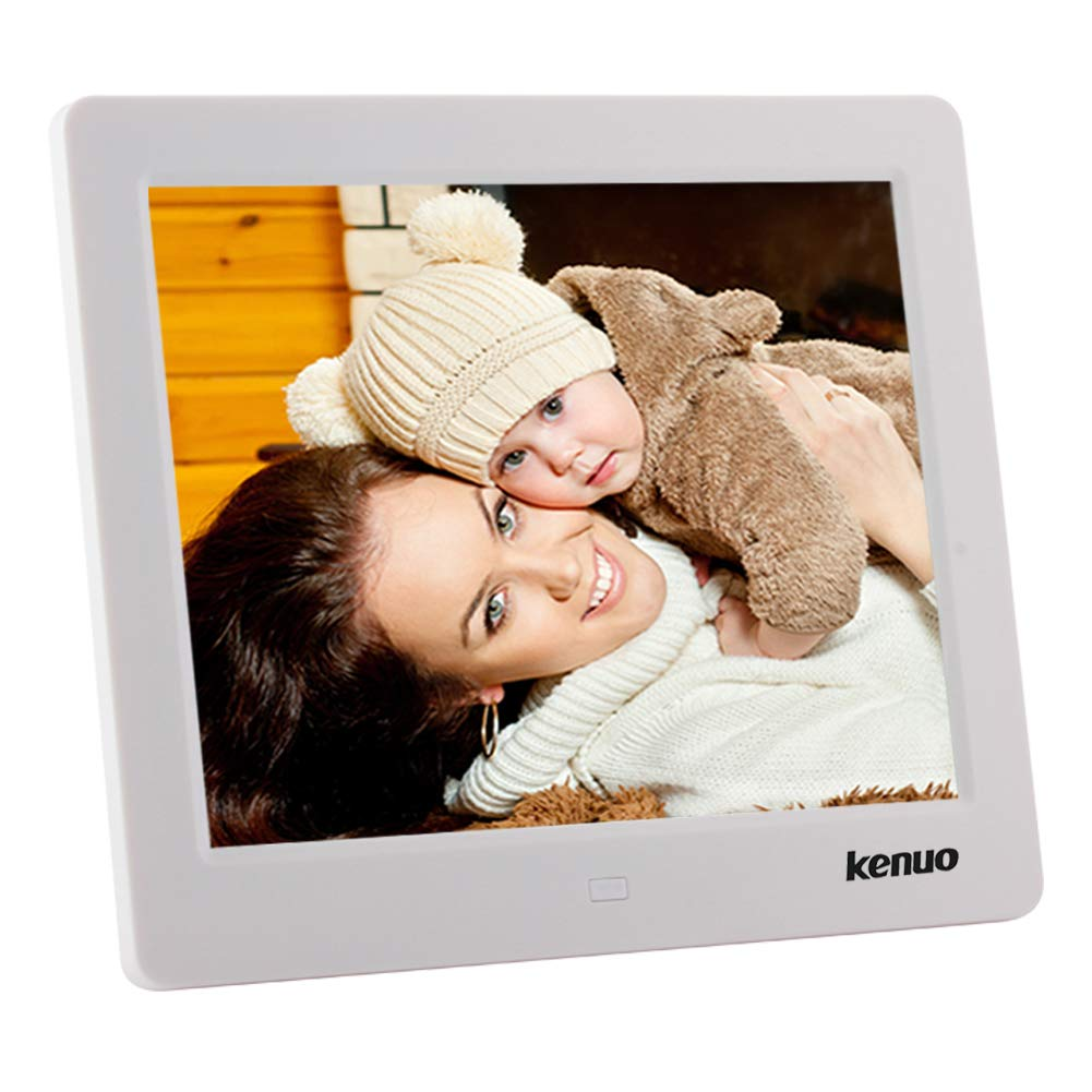 Kenuo 8 Inch Digital Picture Photo Frame 1024x768(4:3) HD LED Screen with Alarm Clock Electric Digital Frame MP3/Photo/Video Player with Remote Control for Birthday Gift (White)