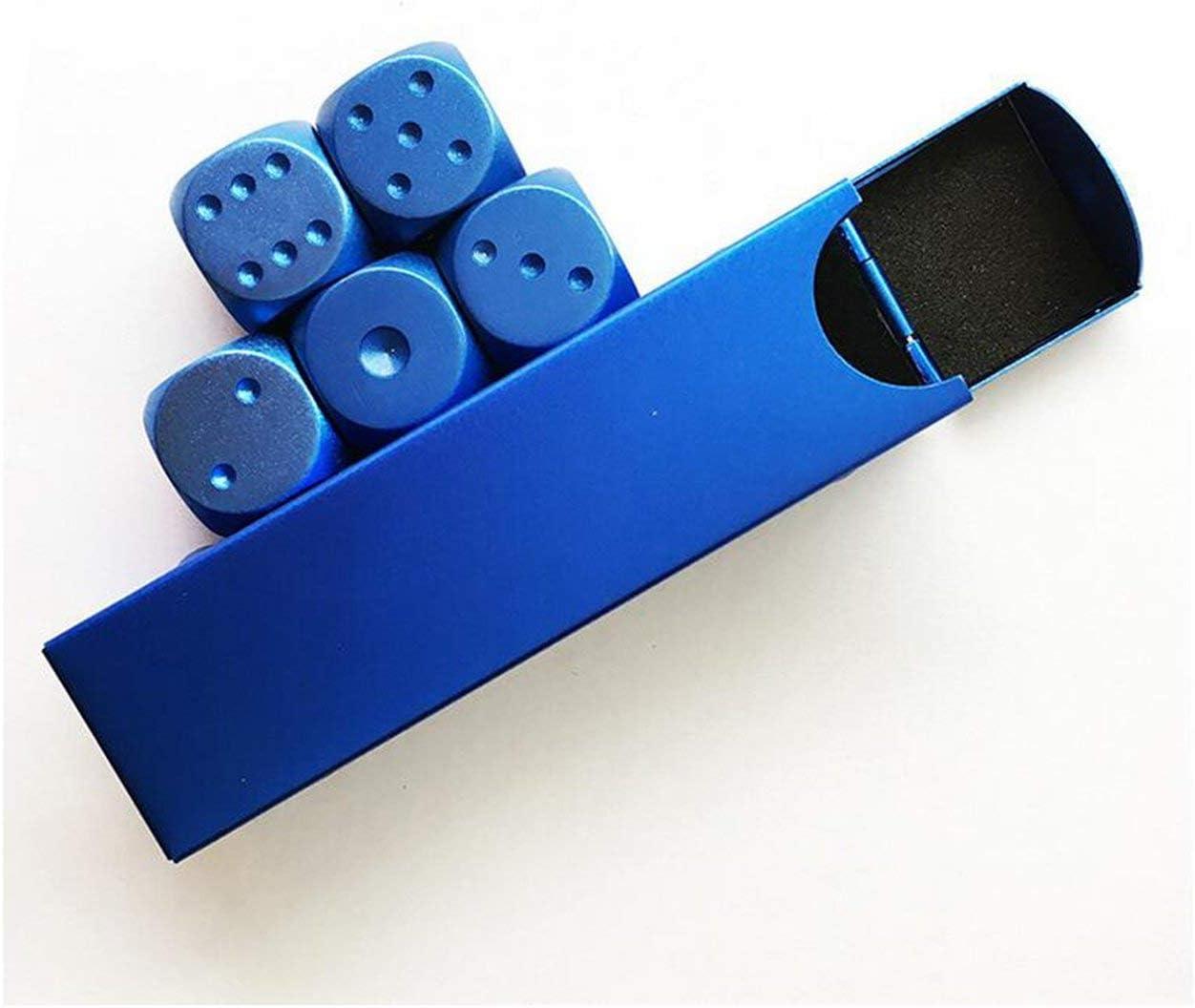 blau golden hot Ballylelly-Hohe qualit/ät 5 st/ücke Aluminium Poker solide Domino Metall w/ürfel Spiel tragbare w/ürfel Poker Party Silber