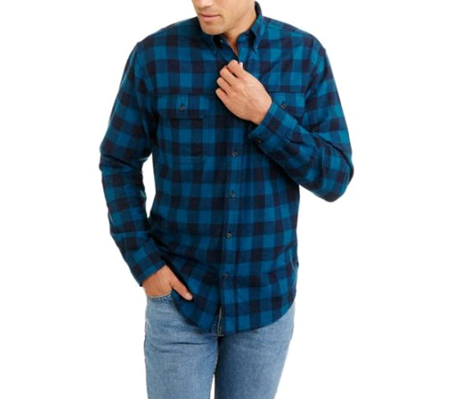 Top2  Faded Glory Mens Long Sleeve Blue and Black Checkered Flannel Shirt 9b45271ec532