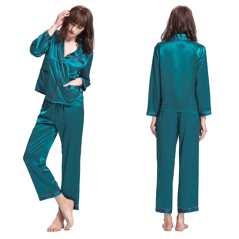 Dark Teal LilySilk Silk Pajamas for Women with Contrast Trimming