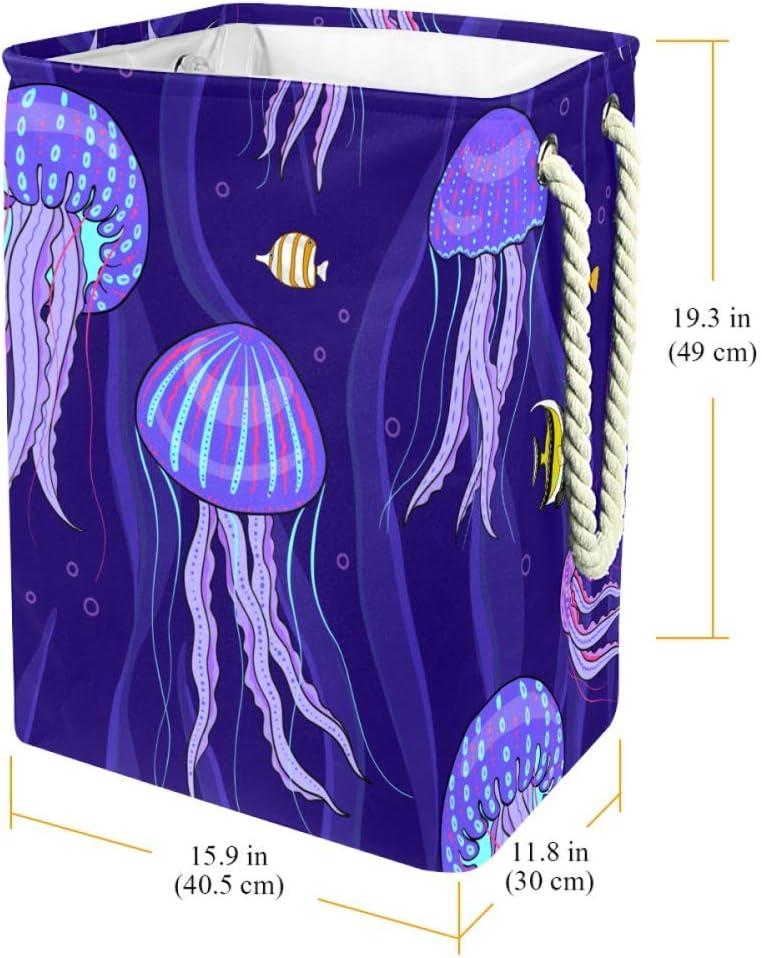 Indimization Mandala Bleu Classique Sac à Linge Rectangle en Tissu Oxford avec poignées Panier de Rangement Haute capacité 49x30x40.5 cm Color6