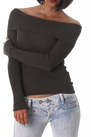 Voyelles Damen Pullover Pulli Carmen Ausschnitt Feinripp Langarm Sweater  Farbig Größe Olive 8837ff7d63
