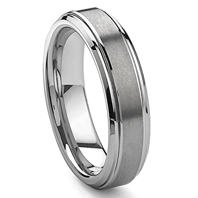 6mm tungsten carbide wedding band ring brushed center sz 70 - Tungsten Carbide Wedding Rings
