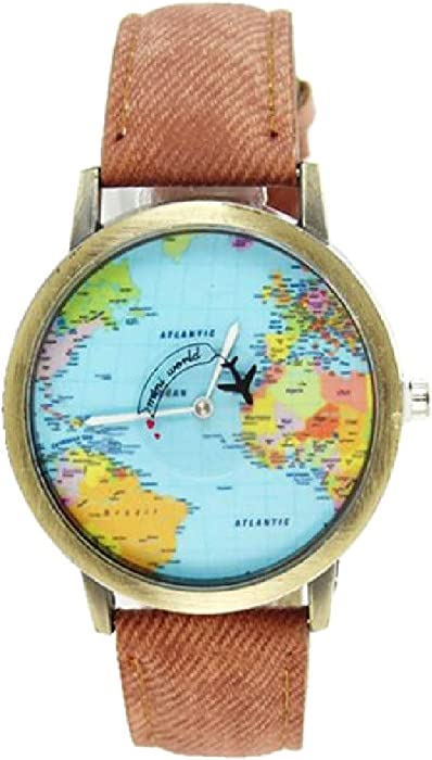 2016 World Map Watch Watches Women Men Denim Fabric Watch Quartz Relojes Mujer Relogio Feminino Gift Brown
