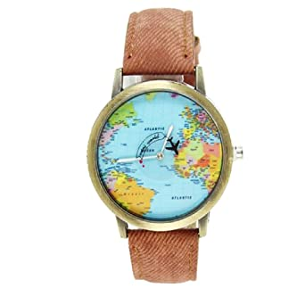 Fashion women men vintage earth world map watch denim fabric wrist fashion women men vintage earth world map watch denim fabric wrist watches brown gumiabroncs Image collections