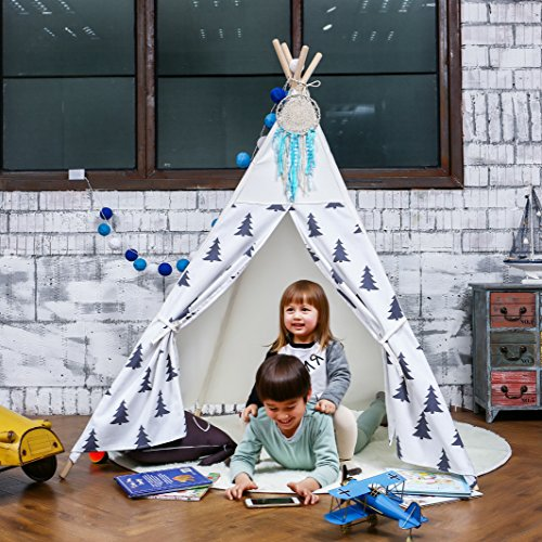 Love Tree Canvas Teepee With Carry Case Children Playhouse Canopy Tent Black and White Tree Style price
