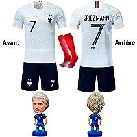 GESUNDHOME Garçon Ensemble de Maillots Griezmann 7 de Football pour Enfant 2018 Coupe du Monde l'équipe France 2 Étoiles