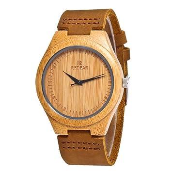YALTOL Relojes de bambú Hombres Mujeres grabadas Hechas a Mano de Madera Natural Correa de Cuero Reloj de Pulsera Unisex Regalo de cumpleaños de Vacaciones ...