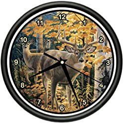 SignMission Deer Wall Clock whitetailed Hunting Lodge, Beagle