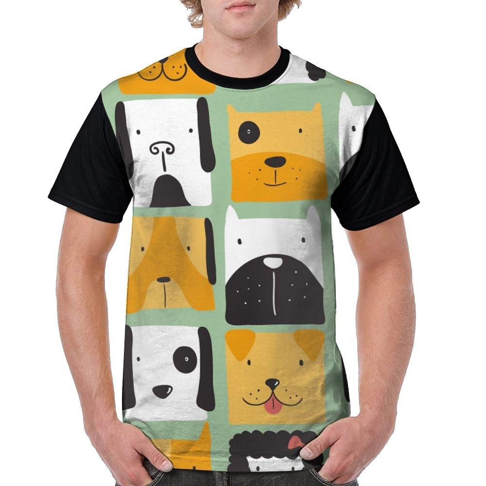CKS DA WUQ Funny Dogs Face Men's Raglan Short Sleeve Tops T-Shirt Fashion Undershirts Baseball Tees