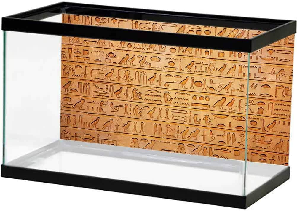 Egypt Decor Under Sea Fish Aquarium Traditional Hieroglyph Backdrop with Mummy Pyramids and Bastet Collage Art for Aquariums Taupe Navy