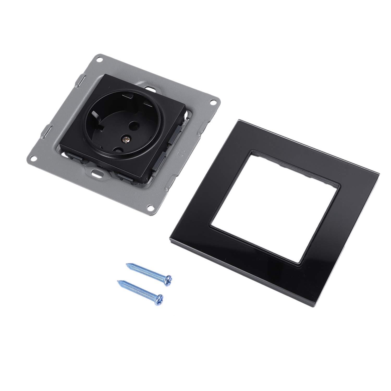 SODIAL Blanco Est/ándar de La Ue Enchufe de Potencia Ac 110~250V 16A Enchufe de Potencia de Pared Panel de Vidrio de Cristal Blanco