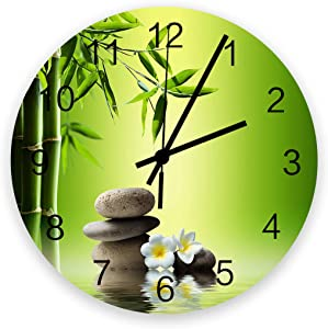 12 Inch Silent Round Wooden Wall Clock Japanese Zen Garden Bamboo Stone Plumeria Wall Clock, Non Ticking Battery Operated Quartz Home Decor Wall Clocks for Living Room/Kitchen/Office