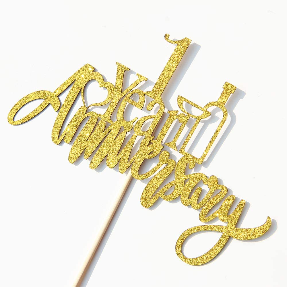 Gold 1 Year Anniversary Cake Topper First Anniversary Cake Decoration 1 Year Wedding Anniversary Party Decorations