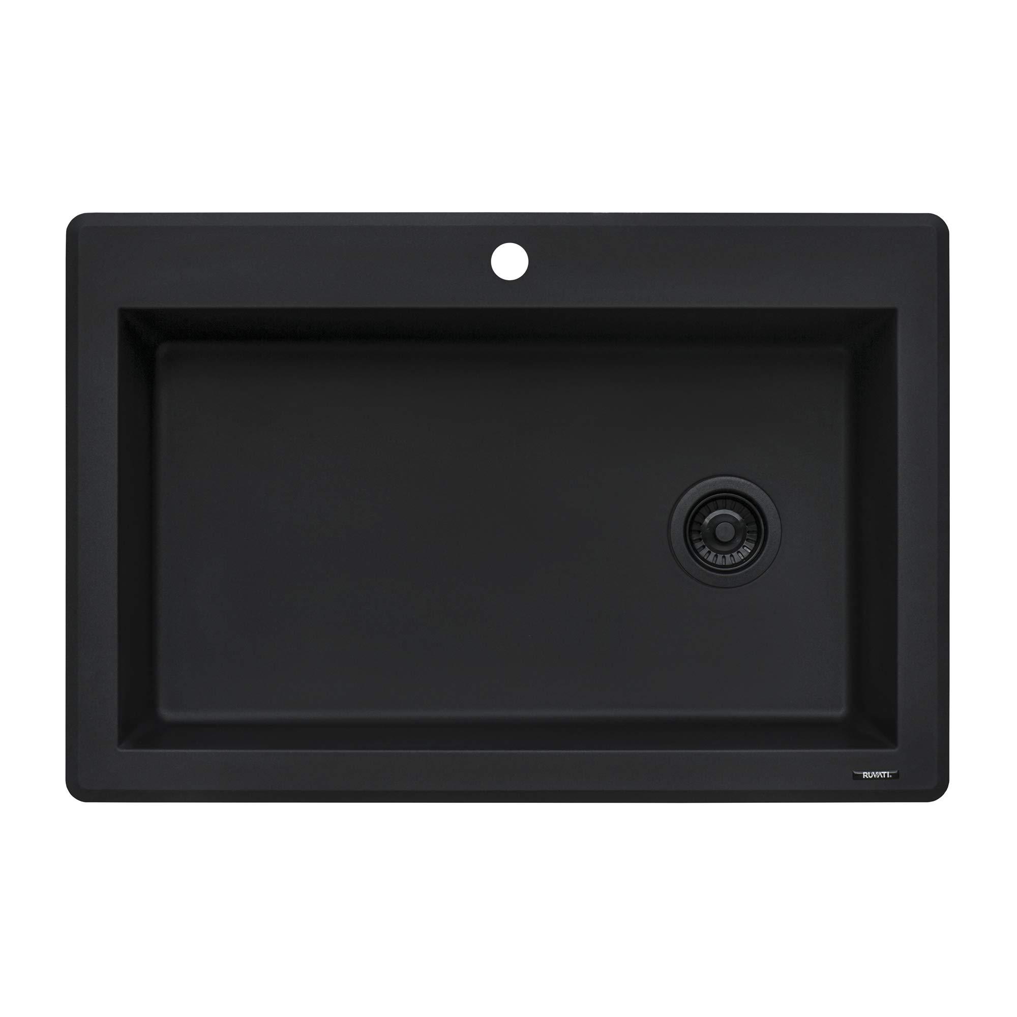 Ruvati 33 x 22 inch Dual-Mount Granite Composite Single Bowl Kitchen Sink - Midnight Black - RVG1033BK