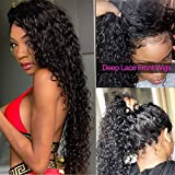 Peruvian Deep Wave Human Hair Lace Front Wigs For Black Women 130% Density 100% Unprocessed Virgin Human Hair Wig with Baby Hair Pre Plucked 16 inch Lace Frontal Wig