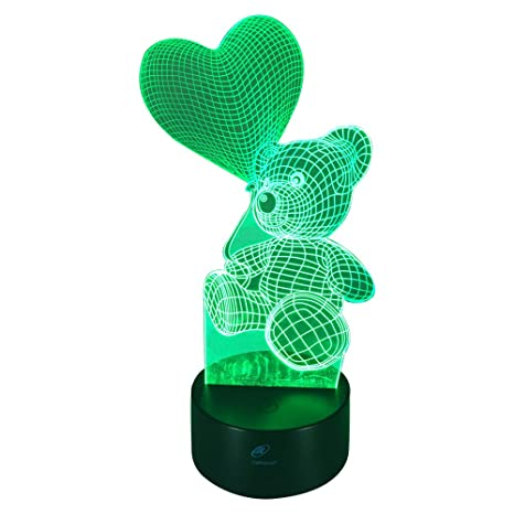 Lights & Lighting Bear 3d Lamp Remote Touch Colorful 3d Nightlight Creative Gifts Novelty Table Lamps Usb Led 7 Color Change Desk Lamp Led Table Lamps