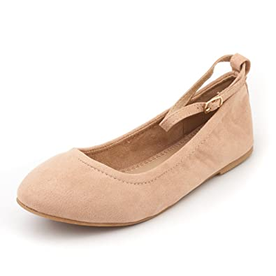 805b2730eea DREAM PAIRS Women s Sole-Fina-Straps Nude Suede Ankle Straps Ballet Flats  Shoes -