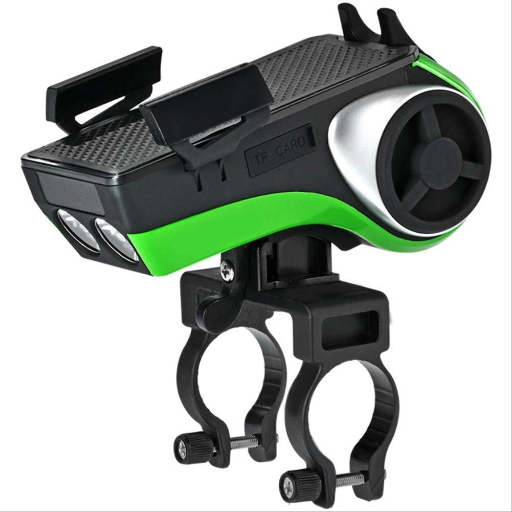 自転車ライトUSB充電ハンドルバーライト、あらゆる種類の自転車用のブルートゥースライディング(黒と緑) B07QBNQ49Q