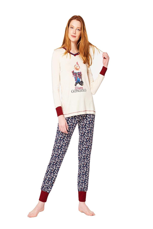 f61ae817980f PEPITA Pigiama Donna in Caldo Cotone con Stampa Centrale e Pantalone  Fantasia Style 48: Amazon.es: Ropa y accesorios