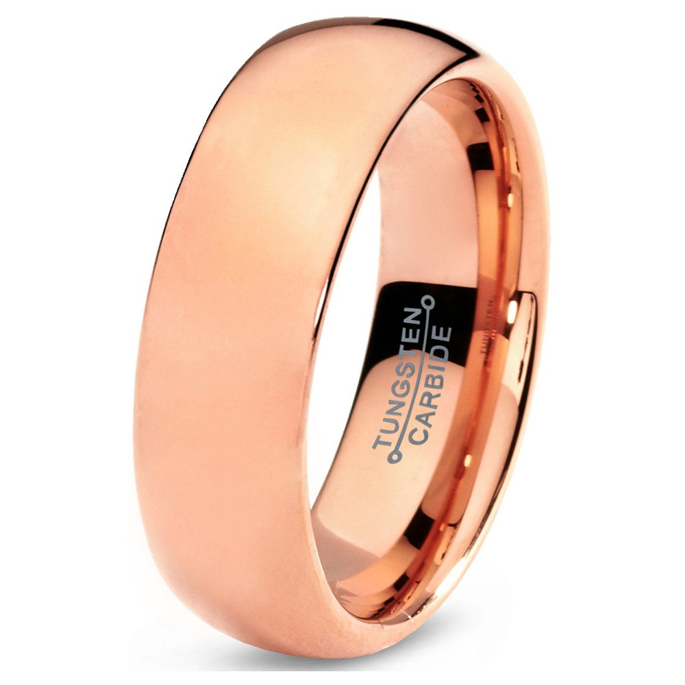 Tungsten Wedding Band Ring 7mm 5mm 2mm for Men Women Comfort Fit Rose Gold Domed Polished FREE Custom Laser Engraving Lifetime Guarantee
