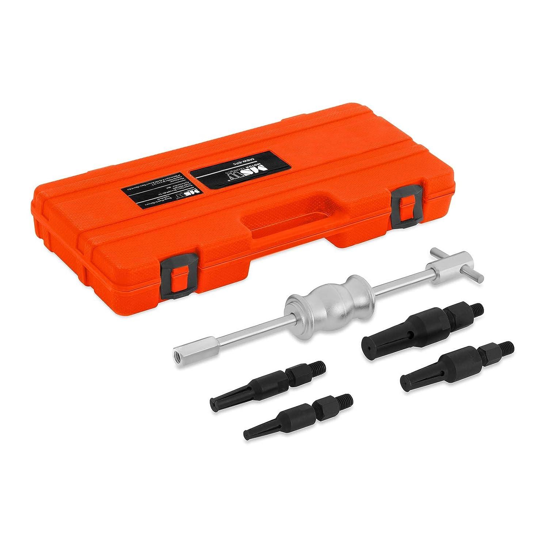 MSW-BP5 Kit di Estrazione per Cuscinetti Interni (5 Pezzi, Estrattore a Percussione 1,36 kg, Mandrini da Rimozione 10– 27 mm, Acciaio, Custodia per Il Trasporto) Mandrini da Rimozione 10-27 mm