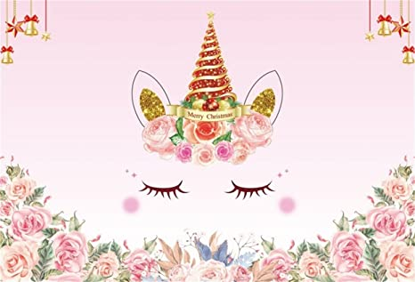 Christmas Backgrounds Cute.Aofoto 8x6ft Cute Unicorn Backdrop Merry Christmas Photography Background Sweet Watercolor Flowers Abstract Eyelash Cartoon Girl Party Decor Banner