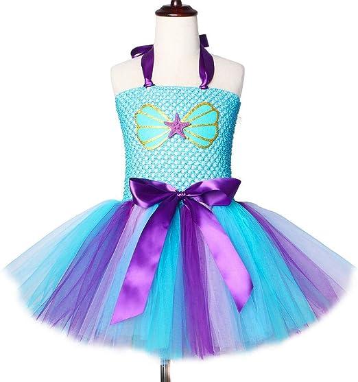 Vestido Princesa Sirena Vestido Infantil Falda Vestido niña,Blue-2 ...