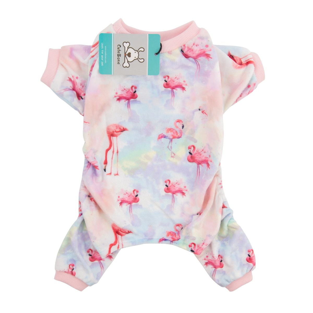 CuteBone Dog Pajamas Flamingo Dog Apparel Dog Jumpsuit Pet Clothes Pajamas Puppy Clothes P44L