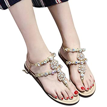 ?? Damen mode Funkelnde strand Hausschuhe Amlaiworld party sommer PU Leder Sandalette club bar Bohemian Strass...