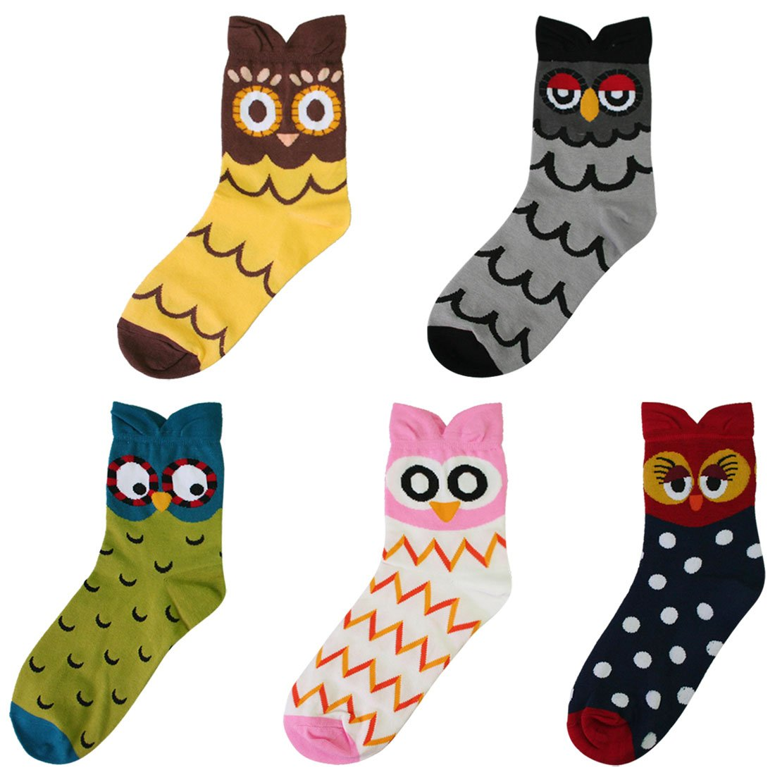 kilofly Novelty Crew Socks Value Pack [Set of 5 Pairs] - Lovely Owl FTW350set5