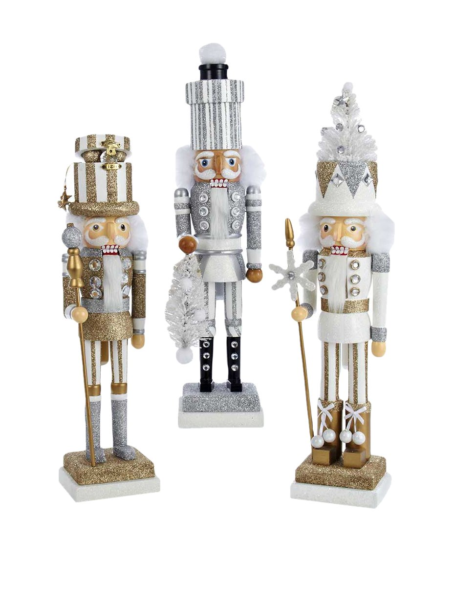 18'' Holly Wood White Tree, Silver Package & Gold Package Hat Nutcrackers 3/asstd. by Kurt Adler