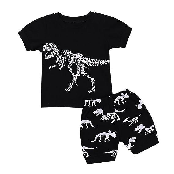 daa4b6eda POLP Niño Conjunto Niños Bebé, Dinosaurio Camiseta Impresa Camiseta ...