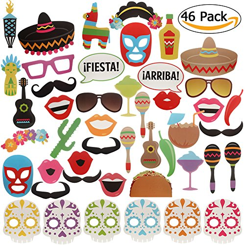 Mexican Fiesta Photo Booth Props (46 pcs)