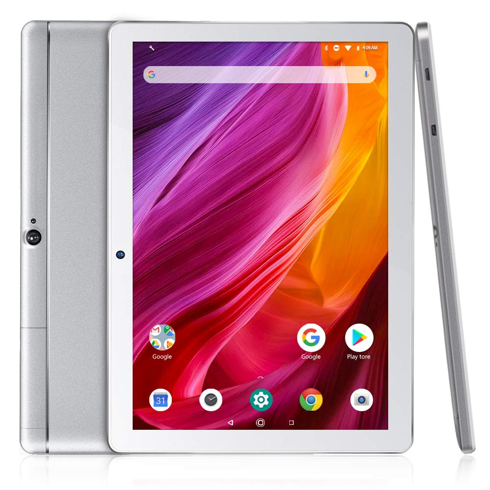 Dragon Touch K10 Tablet, 10 inch Android Tablet with 16 GB Quad Core Processor, 1280x800 IPS HD Display, Micro HDMI, GPS, FM, 5G WiFi, Silver Metal Body by Dragon Touch