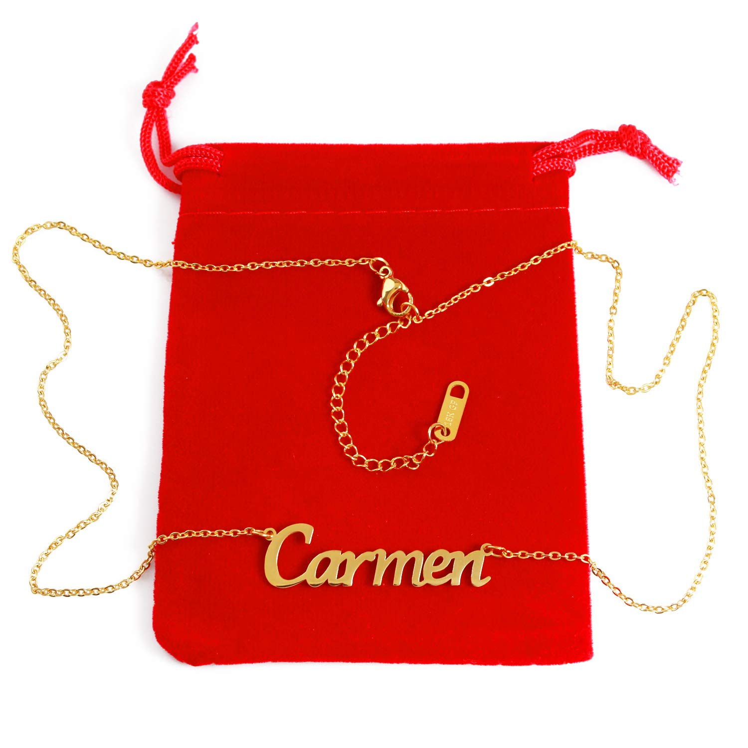 Zacria Carmen Custom Name Necklace Personalized 18ct Gold Plated