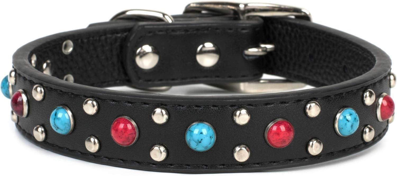 Puccybell Collar de Perro con Tachuelas y Cuentas de Piedras Preciosas, Collar Decorado para Perros pequeños, medianos y Grandes HB001 (M, Negro)