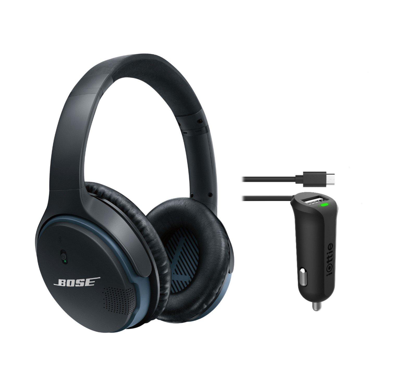 Bose SoundLink Around-Ear Bluetooth Headphones, Black, with iOttie RapidVolt Mini - Micro USB Car Charger