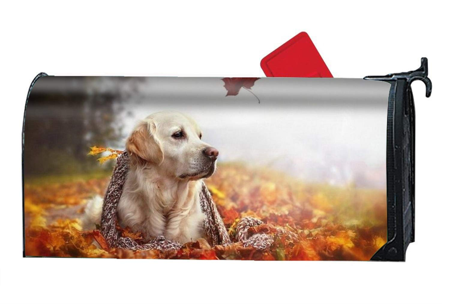 Dog in Leaves Vinyl Magnetic Mailbox Cover Excellent Quality Made in the USA