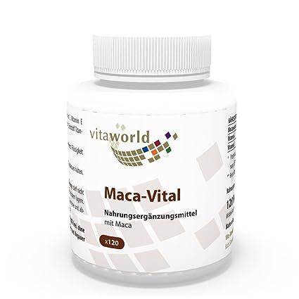 Maca 380mg + Vitaminas C y E 120 Cápsulas Vita World Farmacia Alemania - Raiz de
