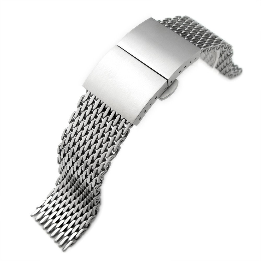 22mm Ploprof 316 SS Wire ''SHARK'' Mesh Milanese Watch Band, Dome Deployant, Brushed, AA by 20mm Mesh Band