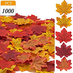 VONDERSO Artificial Maple Leaves, Autumn Fall Leaves Bulk Assorted Multi Color Mixed Garland Thanksgiving Baby Shower Birthday Wedding House Decorations 4