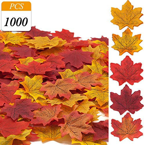 VONDERSO Artificial Maple Leaves, Autumn Fall Leaves Bulk Assorted Multi color Mixed Garland For Thanksgiving Wedding House Decorations -