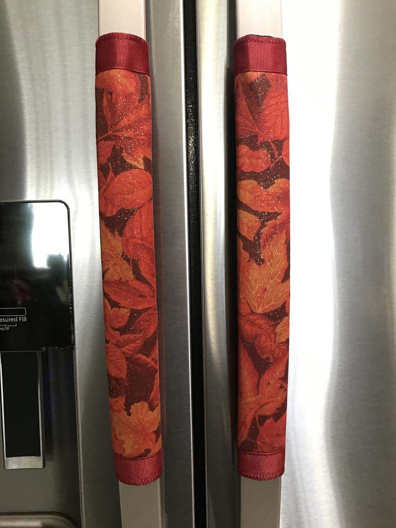 Refrigerator Door Handle Covers Set of Two Sparkly Leaves Theme 13 Long X 5 Wide