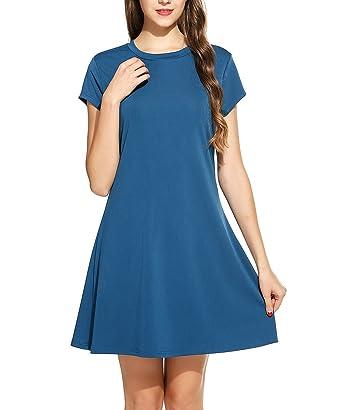 8b3f5c9a2da0 ACEVOG Women s Casual Loose Summer Dresses Plain Short Sleeve Cotton Simple  Swing T-Shirt Dress