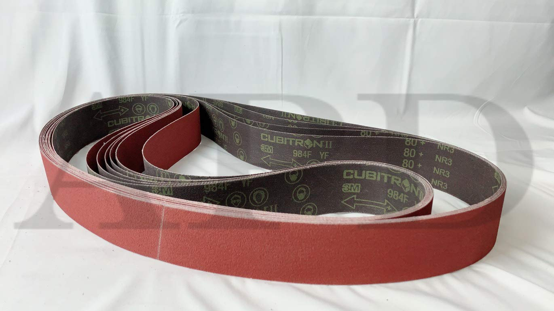 10-Pack 2-1/2 Inch x 60 Inch 80+ Grit 3M 984F Cubitron II PSG Ultra Performance Cloth Belt YF-Weight Backing
